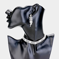 5Line Spaced Rhinestone Pave Choker Necklace