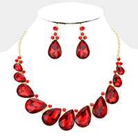 Marquise Crystal Oval Evening Necklace