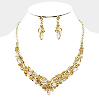 Marquise Crystal V Shape Evening Necklace