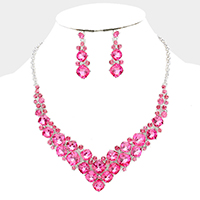 Glass Crystal Bubble Cluster V Collar Evening Necklace