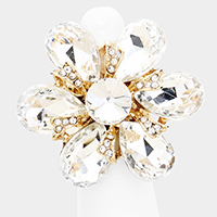 Crystal rhinestone flower stretch cocktail ring