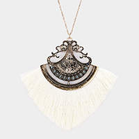 Beads Embellished Filigree Fan Tassel Long Necklace