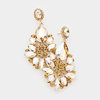 Crystal Rhinestone Teardrop Floral Dangle Earrings
