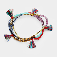 3 PCS Multi Layered Bead Tassel Stretchable Bracelet