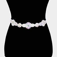 Felt Back Floral Crystal Sash Ribbon Bridal Wedding Belt