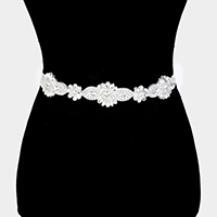 Floral Crystal Sash Ribbon Bridal Wedding Belt / Headband