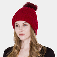 Winter Cable Knit Rhinestone Studded Pom Pom Beanie