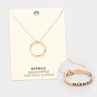 'Mermaid' Gold Dipped Ring Metal Pendant Necklace