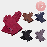 Plain Color Button Ladies Screen Touch Gloves