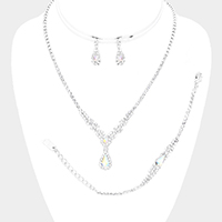 3PCS Teardrop Accented Rhinestone Pave Crystal Drop Necklace Set