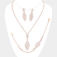 3PCS Marquise Rhinestone Pave Crystal Drop Necklace Set