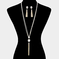 2Line Rhinestone Square Crystal Tassel Long Necklace