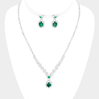 Crystal Oval Rhinestone Necklace Set