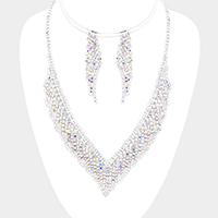 Rhinestone Pave V Collar Necklace Set