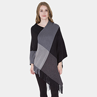 Fringed Color-Blocked Poncho