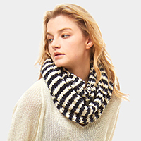 Striped Chenille Infinity Scarf