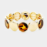 Round Celluloid Acetate Disc Stretch Bracelet