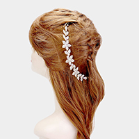 Floral Crystal Accented Bun Wrap Headpiece