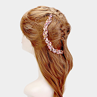 Oval Crystal Accented Bun Wrap Headpiece