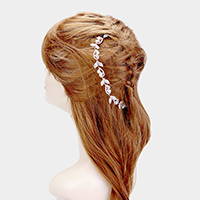 Crystal Leaf Crystal Teardrop Accented Bun Wrap Headpiece