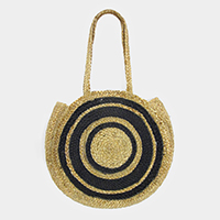 Straw Round Detailed Shoulder Tote Bag