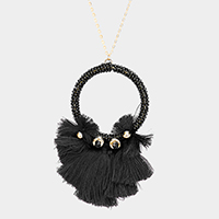 Beaded Cut Out Round Tassel Pendant Long Necklace