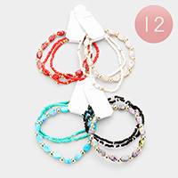 12 PCS - Natural Stone Seed Bead Stretch Bracelets