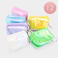 12PCS - Mermaid Tail Patterned Hologram Zip Keychain Purses