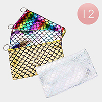 12PCS - Rectangular Mermaid Tail Patterned Hologram Zip Keychain Purses