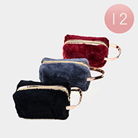 12PCS - Furry Cosmetic Bags