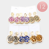 12Pairs - Mixed Leopard Round Disc Link Dangle Earrings
