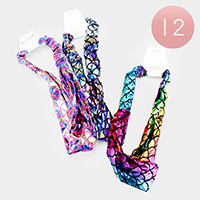 12PCS - Mermaid Tail Hologram Stretch Headbands