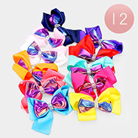 12PCS - Layered Shimmery Colorful Bow Hair Clips