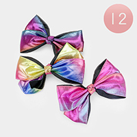 12PCS - Colorful Shimmery Bow Hair Clips