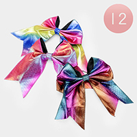 12PCS - Shimmery Colorful Bow Hair Clips