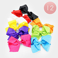 12PCS - Crystal Embellished Colorful Bow Hair Clips