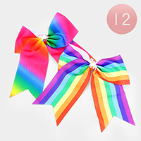 12PCS - Rainbow Pattern Bow Hair Clips