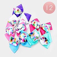 12PCS - Layered Shimmery Blur Dot Pattern Bow Hair Clips