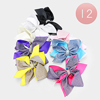 12PCS - Layered Shimmery Bow Hair Clips