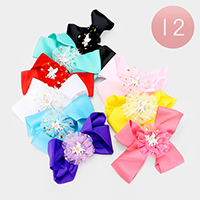 12PCS - Colorful Unicorn Decorated Bow Hair Clips