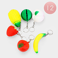 12PCS - Assorted Fruit Key Squishy Chain