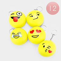 12PCS - Round Emoji Face Squishy Key Chains