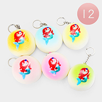 12PCS -Assorted Mermaid Sponge Squishy Key Chains