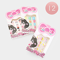 12 Set of 12 - Cute Assorted Designs Artificial Nail Stickers