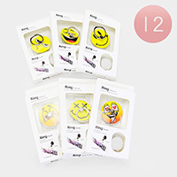 12PCS - Assorted Emoji Faces Cell Phone Ring Holders