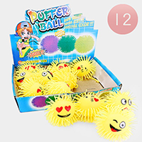 12PCS - Cute Assorted Emoji Faces Puffer Ball Toys