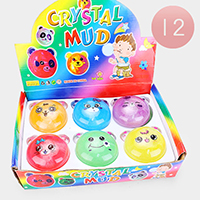 12PCS - Cute Assorted Animal Faces Crystal Mud Slimy