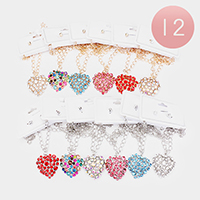 12PCS - Crystal Embellished Heart Pendant Necklaces