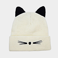 Cat Ear Knit Embroidery Beanie Hat