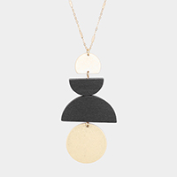 Geometric Metal Wood Pendant Long Necklace